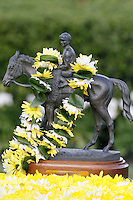 The 76th running of the Arkansas Derby trophy.(Justin Manning/Eclipse Sportswire)