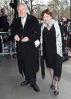 Peter Sissons  and wife arriving for the TRIC Awards 2014, at Grosvenor House Hotel, London. 11/03/2014 Picture by: Alexandra Glen / Featureflash