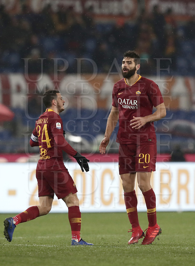 Football, Serie A: AS Roma - Genoa, Olympic stadium, Rome, December 16, 2018. <br /> Roma's Federico Fazio (r) celebrates after scoring with his captain Alessandro Florenzi (l) during the Italian Serie A football match between Roma and Genoa at Rome's Olympic stadium, on December 16, 2018.<br /> UPDATE IMAGES PRESS/Isabella Bonotto