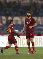 Football, Serie A: AS Roma - Genoa, Olympic stadium, Rome, December 16, 2018. <br /> Roma&rsquo;s Federico Fazio (r) celebrates after scoring with his captain Alessandro Florenzi (l) during the Italian Serie A football match between Roma and Genoa at Rome's Olympic stadium, on December 16, 2018.<br /> UPDATE IMAGES PRESS/Isabella Bonotto