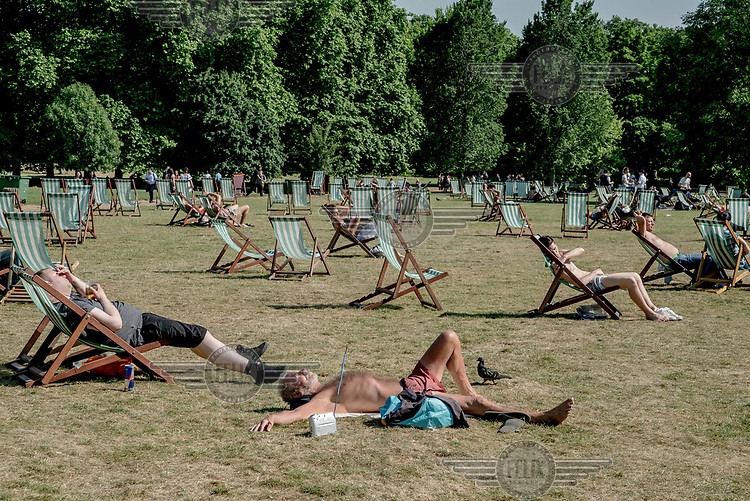 Sunbathers in Green Park.