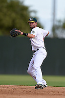 Oakland Athletics shortstop Branden Cogswell (7) during an Instructional League game against the San Francisco Giants on October 15, 2014 at Papago Park Baseball Complex in Phoenix, Arizona.  (Mike Janes/Four Seam Images)