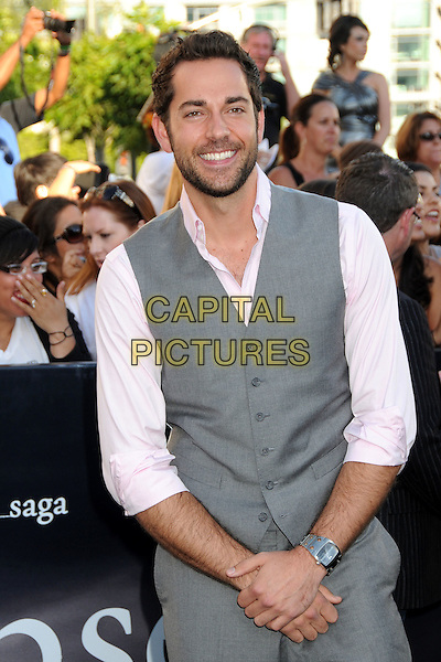"ZACHARY LEVI .""The Twilight Saga: Eclipse"" Los Angeles Premiere at the 2010 Los Angeles Film Festival held at Nokia Theatre LA Live, Los Angeles, California, USA, 24th June 2010..half length grey gray waistcoat trousers  pink shirt  beard facial hair beard facial hair .CAP/ADM/BP.©Byron Purvis/AdMedia/Capital Pictures."
