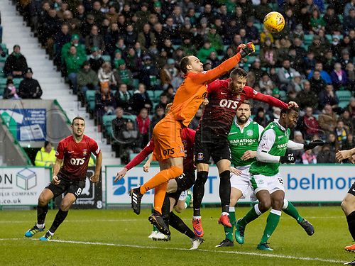 30th December 2017, Easter Road, Edinburgh, Scotland; Scottish Premier League football, Hibernian versus Kilmarnock; Jamie MacDonald of Kilmarnock  punches clear