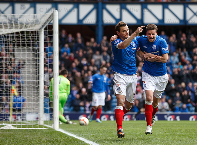 Lee McCulloch celebrates his goal with Seb Faure