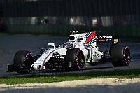 March 26, 2017: Lance Stroll (CAN) #18 from the Williams Martini Racing team rounds turn three at the 2017 Australian Formula One Grand Prix at Albert Park, Melbourne, Australia. Photo Sydney Low