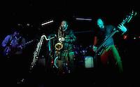 CIUDAD DE MÉXICO, DF. Julio 12, 2013  – Daniel Zlotnik saxofonista,  Carlos Maldonado bajista y Rodrigo Barbosa baterista del grupo de Jazz, Los Dorados, tocan junto al guitarrista, Alejandro Otaola,  en el Bar Caradura de la Ciudad de México.  FOTO: ALEJANDRO MELÉNDEZ<br /> <br /> MEXICO CITY, DF. July 12, 2013 - Daniel Zlotnik saxophonist Carlos Maldonado bassist and drummer Rodrigo Barbosa Jazz, Los Dorados, playing with guitarist Alejandro Otaola, at Bar Caradura Mexico City. PHOTO: ALEJANDRO MELENDEZ