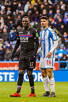 Crystal Palace's forward Christian Benteke (17) with Huddersfield Town's defender Christopher Schindler (26) during the EPL - Premier League match between Huddersfield Town and Crystal Palace at the John Smith's Stadium, Huddersfield, England on 17 March 2018. Photo by Stephen Buckley / PRiME Media Images.