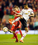 Alberto Moreno of Liverpool and Marcus Rashford of Manchester United during the UEFA Europa League match at Anfield. Photo credit should read: Philip Oldham/Sportimage