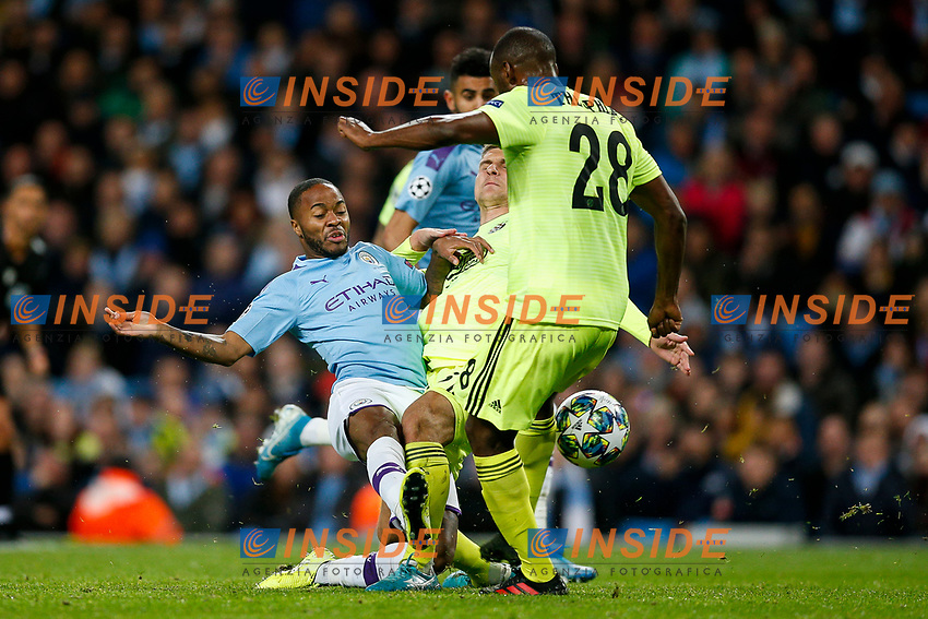 Raheem Sterling of Manchester City goes close with a shot during the UEFA Champions League Group C match between Manchester City and Dinamo Zagreb at the Etihad Stadium on October 1st 2019 in Manchester, England. (Photo by Daniel Chesterton/phcimages.com)<br /> Foto PHC/Insidefoto <br /> ITALY ONLY