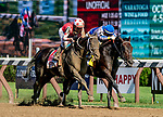 August 24, 2019 : Midnight Bisou #1, ridden by Mike Smith, outduels Elate #4, ridden by Jose Ortiz, to grab the win in the Personal Ensign Stakes at the wire by a nose during Travers Stakes Day at Saratoga Racecourse in Saratoga Springs, New York. Scott Serio/Eclipse Sportswire/CSM