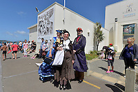 (from left) Jane Craven, Helen Richardson and Leslie Craven of Capital Steampunk, Petone Settlers 175th Anniversary on the Petone Foreshore, Lower Hutt, New Zealand on Sunday 19 January 2015. <br /> Photo by Masanori Udagawa.<br /> www.photowellington.photoshelter.com.
