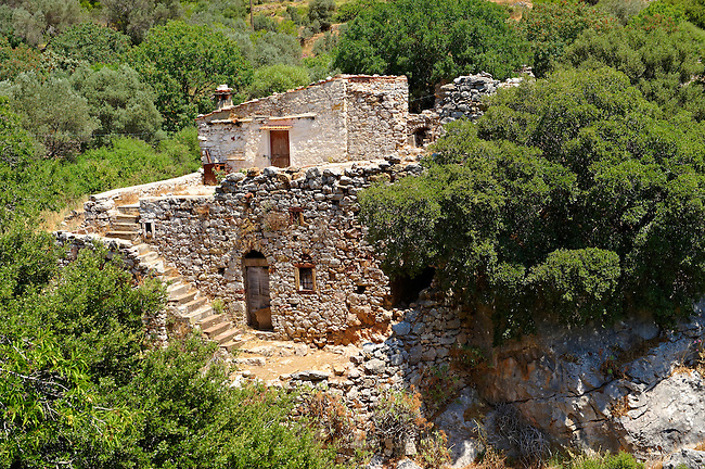 Ruins of the Byzantine of Nea Moni built by Constantine IX and Empress Zoe after the miraculous appearance of an Icon of the Virgin Mary at the site and inaugurated in 1049. Scene of a terrible sack and massacre of hundreds of Chiots and priests during the Ottoman sack of Chios in reprisal for the 1821 Greek War of Indipendance. Nea Moni monastery, Chios Island, Greece. A UNESCO World Heritage Site.
