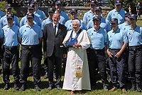 Domenico Giani Inspector General of the Gendarmerie Corps, the police and security force of the Vatican City, and the chief bodyguard of Pope Benedict XVI and of Pope Francis, summer retreat at Les Combes d'Introd, in Val d'Aosta region northern Italy, on July 29, 2009.The Vatican's gendarme corps  of Vatican City State (Italian: Corpo della Gendarmeria dello Stato della Città del Vaticano) is the gendarmerie, or police and security force, of Vatican City and the extraterritorial properties of the Holy See.<br /> The 130-member corps is led by an Inspector General, currently Domenico Giani,The corps is responsible for security, public order, border control, traffic control, criminal investigation, and other general police duties in Vatican City.2019