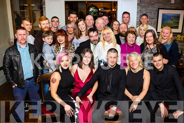 Zygi Lelys of Tralee, seated front center, celebrating his 21st birthday with family and friends at the Station House in Blennerville on Sunday last.