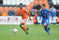 Blackpool's Marc Bola under pressure from Gillingham's Elliott List<br /> <br /> Photographer Kevin Barnes/CameraSport<br /> <br /> The EFL Sky Bet League One - Blackpool v Gillingham - Saturday 4th May 2019 - Bloomfield Road - Blackpool<br /> <br /> World Copyright © 2019 CameraSport. All rights reserved. 43 Linden Ave. Countesthorpe. Leicester. England. LE8 5PG - Tel: +44 (0) 116 277 4147 - admin@camerasport.com - www.camerasport.com