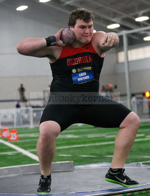 Georgia sophomore Caleb Whitener competes in the shot put event at Men's and Women's SEC Track and Field meet at Nutter Field House in Lexington, Ky., on Sunday, Feb. 26, 2012. Photo by Tessa Lighty | Staff