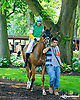 Hibernia Mystery with Shelia Ahern aboard in the paddock before the Longines International Ladies Fegentri Amateur race at Delaware Park on 6/8/15
