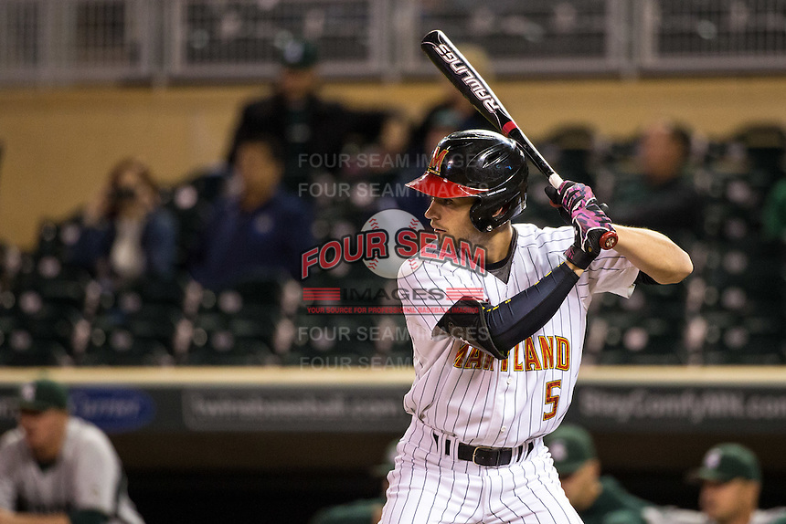 Brandon Lowe (5) of the Maryland Terrapins bats during a 2015 Big Ten Conference Tournament game between the Maryland Terrapins and Michigan State Spartans at Target Field on May 20, 2015 in Minneapolis, Minnesota. (Brace Hemmelgarn/Four Seam Images)
