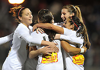 Samantha Kerr (4) of The Western New York Flash celebrates with teammates her score. The Washington Spirit tied The Western New York 1-1 in the home opener of The National Women's Soccer League, at Maryland SoccerPlex, Saturday April 20, 2013.
