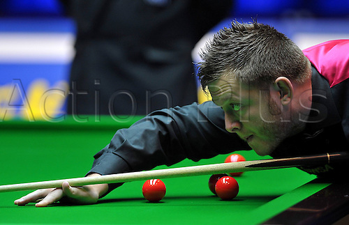 03.03.2013 Haikou, China. Mark Allen of Northern Ireland in action against Matthew Stevens of Wales during the final of the Haikou World Open.