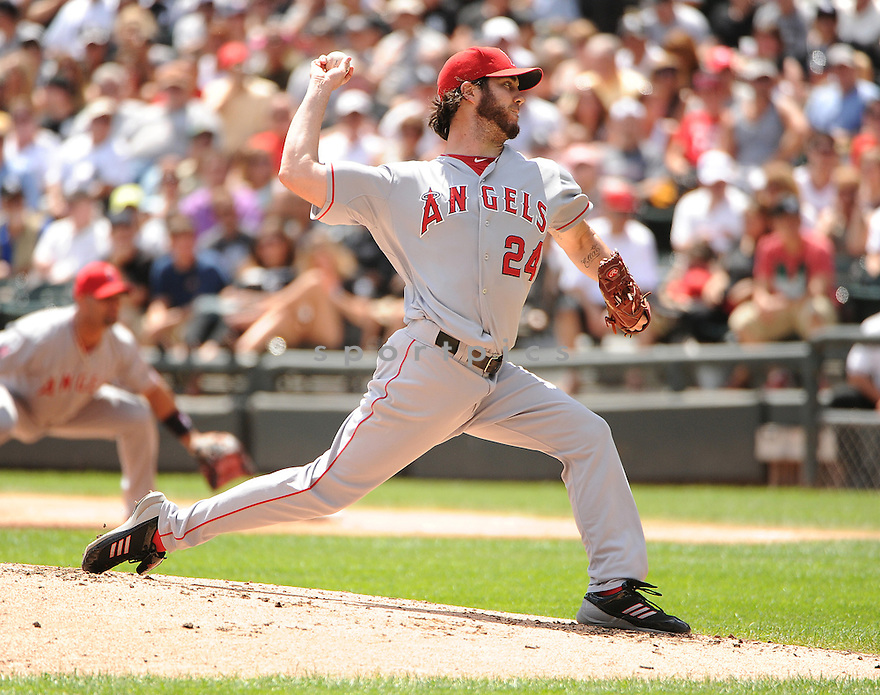 DAN HAREN (24) of the Los Angeles Angels in action during the Angels game against the Chicago White Sox on August 5, 2012 at US Cellular Field in Chicago, IL. The White Sox beat the Angels 4-2.