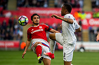 Sunday April 02 2017 <br /> Pictured: <br /> Re: Premier League match between Swansea City and Middlesbrough at The Liberty Stadium, Swansea, Wales, UK. SUnday 02 April 2017