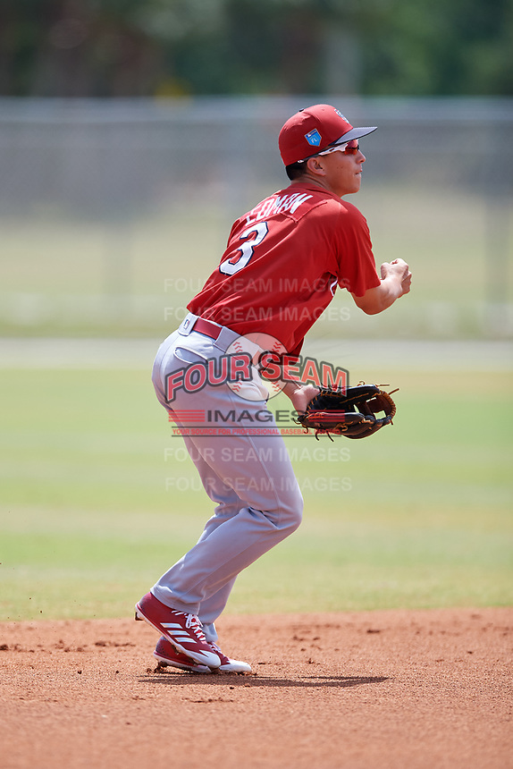St. Louis Cardinals Tommy Edman (3) during a Minor League Spring Training game against the Miami Marlins on March 26, 2018 at the Roger Dean Stadium Complex in Jupiter, Florida.  (Mike Janes/Four Seam Images)