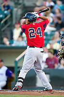 Pawtucket Red Sox outfielder Che-Hsuan Lin #24 during an International League game against the Rochester Red Wings at Frontier Field on August 11, 2012 in Rochester, New York.  Rochester defeated Pawtucket 5-3.  (Mike Janes/Four Seam Images)