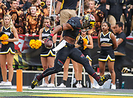 College Park, MD - September 9, 2017: Maryland Terrapins running back Ty Johnson (6) scores a touchdown during game between Towson and Maryland at  Capital One Field at Maryland Stadium in College Park, MD.  (Photo by Elliott Brown/Media Images International)