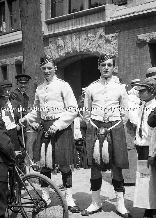 Toronto Ontario:  Two members of the 48th Highlanders after one of the parades celebrating the 100th anniversary of the Battle of Lundy's Lane - 1914
