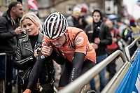 A dissapointed Mathieu van der Poel (NED/Corendon-Circus) leaving the finish zone<br /> <br /> Elite Men Road Race from Leeds to Harrogate (shortened to 262km)<br /> 2019 UCI Road World Championships Yorkshire (GBR)<br /> <br /> ©kramon