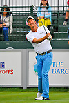 29 August 2009: Fredrik Jacobson of Sweden tees off on the first hole during the third round of The Barclays PGA Playoffs at Liberty National Golf Course in Jersey City, New Jersey.