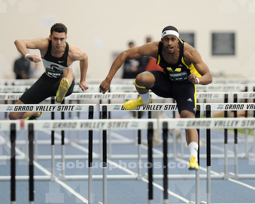 The University of Michigan men's track & field team beat Michigan State University, 88-74, in dual meet action at the Kelly Family Sports Center in Allendale, Mich., on January 26, 2013.