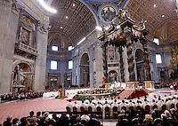 Papa Francesco celebra una messa per l'ordinazione di 19 nuovi sacerdoti nella Basilica di San Pietro, Citta' del Vaticano, 26 aprile 2015.<br /> Pope Francis celebrates a mass for the ordination of 19 new priests in St. Peter's Basilica at the Vatican, 26 April 2015.<br /> UPDATE IMAGES PRESS/Riccardo De Luca<br /> <br /> STRICTLY ONLY FOR EDITORIAL USE