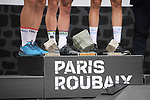 World Champion Peter Sagan (SVK) Bora-Hansgrohe wins with Swiss Champion Silvan Dillier (SUI) AG2R La Mondiale finishes in 2nd place and Niki Terpstra (NED) Quick-Step floors in 3rd in the Roubaix Velodrome at the end of the 116th edition of Paris-Roubaix 2018. 8th April 2018.<br /> Picture: ASO/Pauline Ballet | Cyclefile<br /> <br /> <br /> All photos usage must carry mandatory copyright credit (&copy; Cyclefile | ASO/Pauline Ballet)