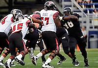 Florida International University football player defensive tackle Jerrico Lee (98) plays against the University of Louisiana-Lafayette on September 24, 2011 at Miami, Florida. Louisiana-Lafayette won the game 36-31. .