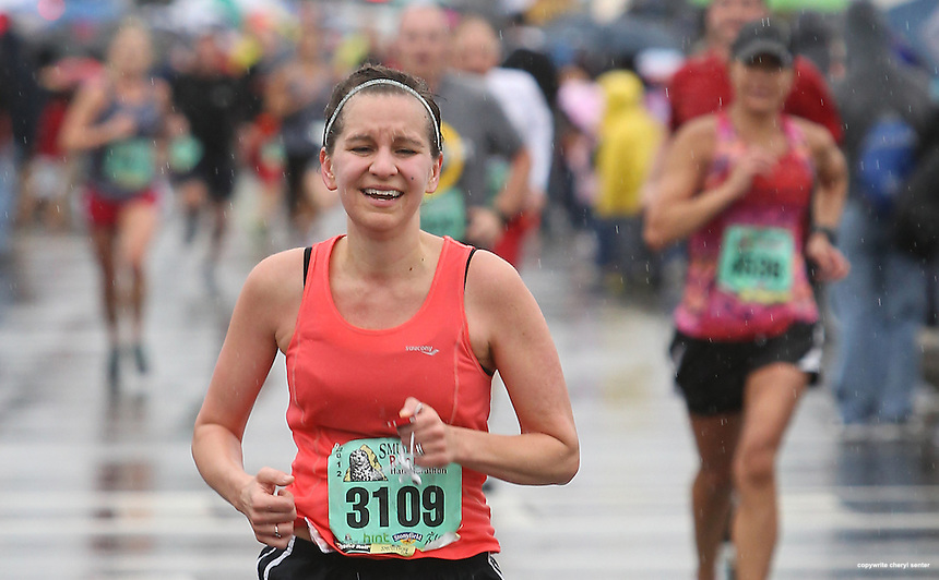 Brooke Kotsonis of Newfields finishes the Smuttynose Rockfest Marathon in Hampton, N.H., Sunday, Sept. 30, 2012.  (Portsmouth Herald Photo Cheryl Senter)
