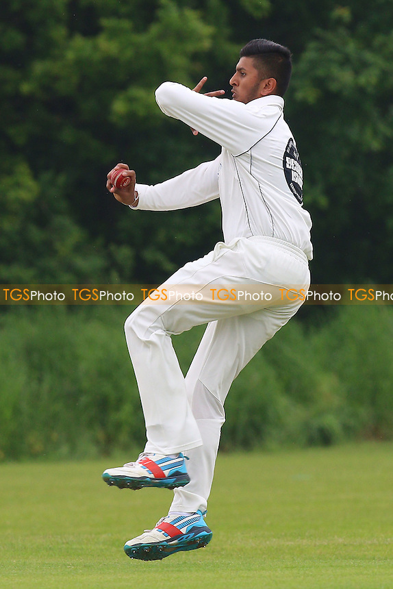 S Joshi in bowling action for Hainault during Hutton CC vs Hainault & Clayhall CC, Shepherd Neame Essex League Cricket at the Polo Field on 28th May 2016