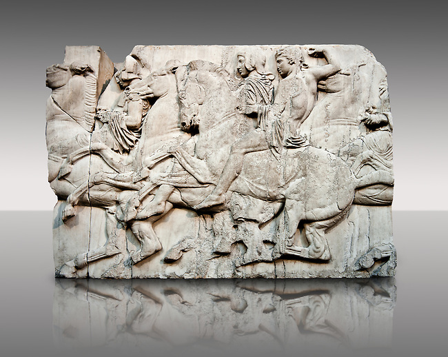 Marble Releif Sculptures from the north frieze around the Parthenon Block XLIII 118-120. From the Parthenon of the Acropolis Athens. A British Museum Exhibit known as The Elgin Marbles