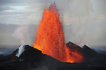 Lava fountain from fissure of Holuhraun eruption, Bardarbunga Volcano, Iceland.