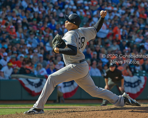 New York Yankees relief pitcher Dellin Betances (68) pitches a perfect eighth inning against the Baltimore Orioles at Oriole Park at Camden Yards in Baltimore, MD on Sunday, April 9, 2017.  The Yankees won the game 7 - 3. <br /> Credit: Ron Sachs / CNP<br /> (RESTRICTION: NO New York or New Jersey Newspapers or newspapers within a 75 mile radius of New York City)
