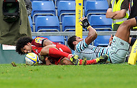 Oxford, England. Hudson Tonga'uiha of London Welsh scores a try during the Aviva Premiership match between London Welsh  and Leicester Tigers at Kassam Stadium on September 2, 2012 in Oxford, England.