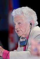 Mississauga mayor Hazel McCallion listens to a speaker at the Federation of Canadian Municipalities (FCM) congress in Quebec city Saturday May 31, 2008.