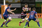 Sam Henwood takes on Alex Nankivell and Alex Ainley. Mitre 10 Cup game between Counties Manukau Steelers and Tasman Mako's, played at ECOLight Stadium Pukekohe on Saturday October 14th 2017. Counties Manukau won the game 52 - 30 after trailing 22 - 19 at halftime. <br /> Photo by Richard Spranger.