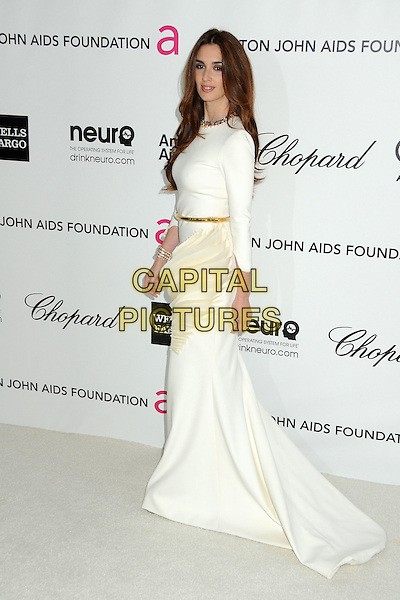 Paz Vega.20th Annual Elton John Academy Awards Viewing Party held at West Hollywood Park, West Hollywood, California, USA..February 26th, 2012.oscars full length white dress cream pleats pleated swirls origami gold belt side.CAP/ADM/BP.©Byron Purvis/AdMedia/Capital Pictures.