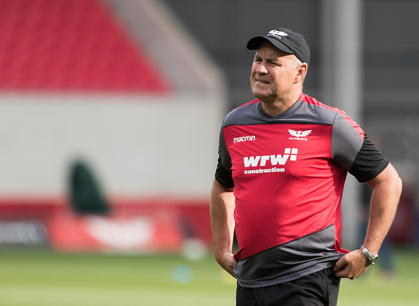 Scarlets' Head Coach Wayne Pivac during the pre match warm up<br /> <br /> Photographer Simon King/CameraSport<br /> <br /> Guinness Pro14 Round 1 - Scarlets v Southern Kings - Saturday 2nd September 2017 - Parc y Scarlets - Llanelli, Wales<br /> <br /> World Copyright &copy; 2017 CameraSport. All rights reserved. 43 Linden Ave. Countesthorpe. Leicester. England. LE8 5PG - Tel: +44 (0) 116 277 4147 - admin@camerasport.com - www.camerasport.com