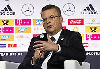 DFB-Präsident Reinhard Grindel gibt die Vertragsverlängerung von Bundestrainer Joachim Loew (Deutschland Germany) bekannt - 15.05.2018: Vorläufige WM-Kaderbekanntgabe, Deutsches Fußballmuseum Dortmund