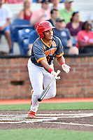 Johnson City Cardinals second baseman Donivan Williams (3) swings at a pitch during a game against the Pulaski Yankees at TVA Credit Union Ballpark on July 7, 2018 in Johnson City, Tennessee. The Cardinals defeated the Yankees 7-3. (Tony Farlow/Four Seam Images)