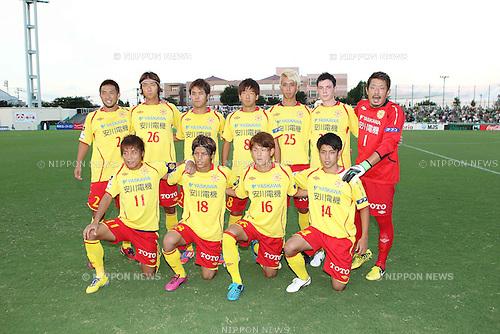 Giravanz Kitakyushu team group line-up,.AUGUST 26, 2012 - Football / Soccer :.Giravanz Kitakyushu team group shot (Top row - L to R) Toru Miyamoto, Ryosuke Kawanabe, Jin Hanato, Kota Morimura, Ryohei Arai, Colin Killoran, Yuya Sato, (Bottom row - L to R) Tomoki Ikemoto, Satoshi Tokiwa, Takayuki Tada and Ryo Takeuchi before the 2012 J.League Division 2 match between Tokyo Verdy 0-2 Giravanz Kitakyushu at Ajinomoto Field Nishigaoka in Tokyo, Japan. (Photo by Hiroyuki Sato/AFLO)